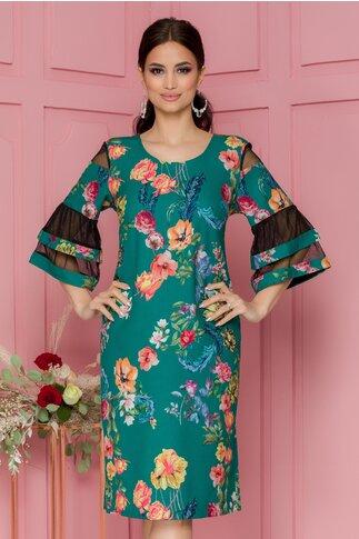 Rochie Sabrina verde cu imprimeuri florale si insertii din tull la maneci