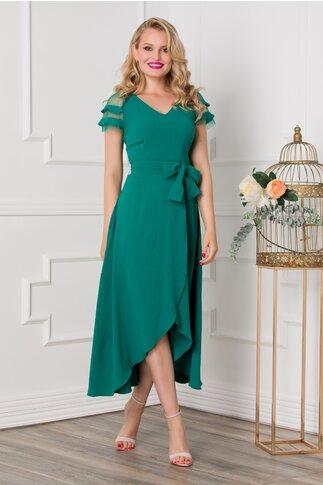 Rochie Sabrina verde cu lungime asimetrica