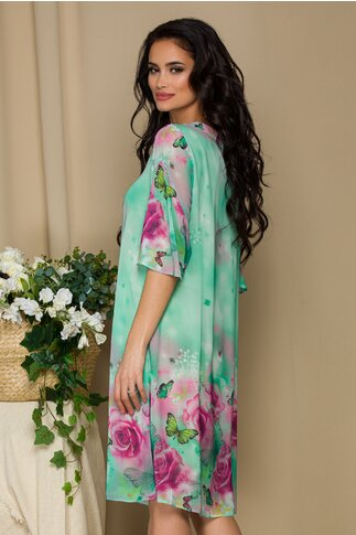 Rochie Sabrina verde deschis cu trandafiri roz maxi si fluturi