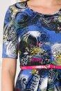 Rochie Safa clos bleumarin de zi cu imprimeu divers