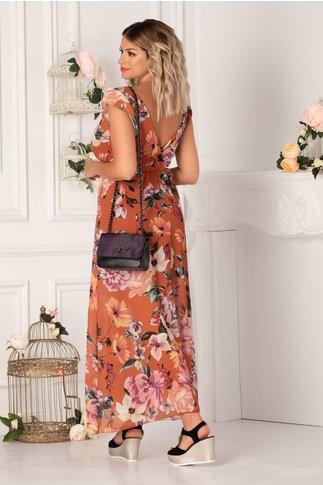 Rochie Sally caramizie cu flori mari pastelate