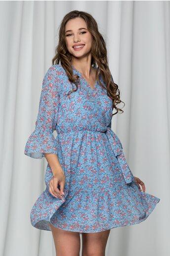 Rochie Samara bleu cu decolteu in V petrecut si imprimeu floral