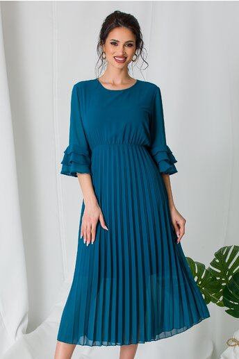 Rochie Samira albastru petrol cu fusta plisata