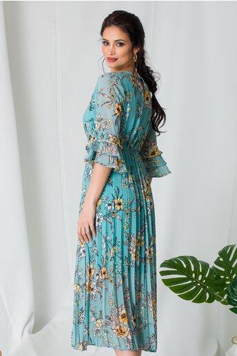 Rochie Samira bleu cu imprimeuri florale si fusta plisata