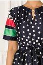 Rochie Samira bleumarin cu buline si dungi verzi si rosii