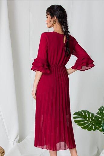 Rochie Samira bordo cu fusta plisata