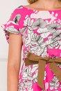 Rochie Samira fucsia cu imprimeuri florale si cordon in talie