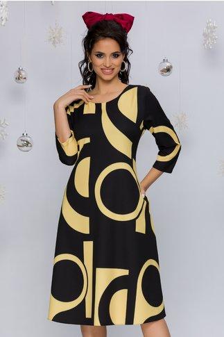 Rochie Samira galbena cu imprimeuri geometrice negre