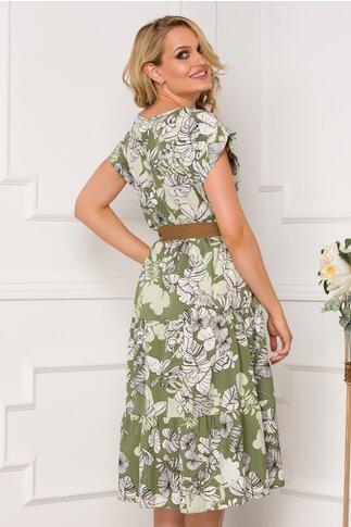 Rochie Samira kaki cu imprimeuri florale si cordon in talie