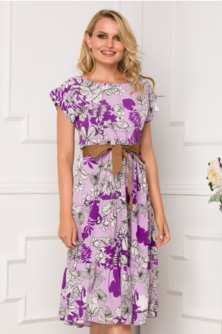 Rochie Samira lila cu imprimeuri florale si cordon in talie