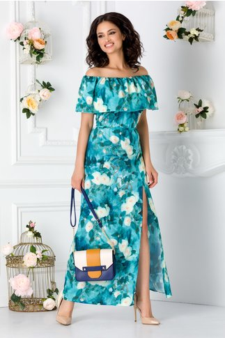 Rochie Samira lunga turcoaz cu imprimeu floral