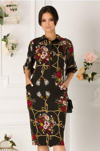 Rochie Samira neagra cu imprimeu floral si buzunare