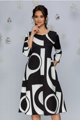 Rochie Samira neagra cu imprimeuri geometrice albe