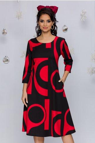 Rochie Samira rosie cu imprimeuri geometrice negre