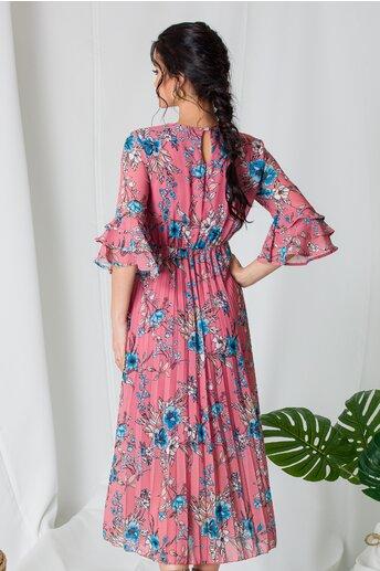 Rochie Samira roz coniac cu imprimeuri florale si fusta plisata