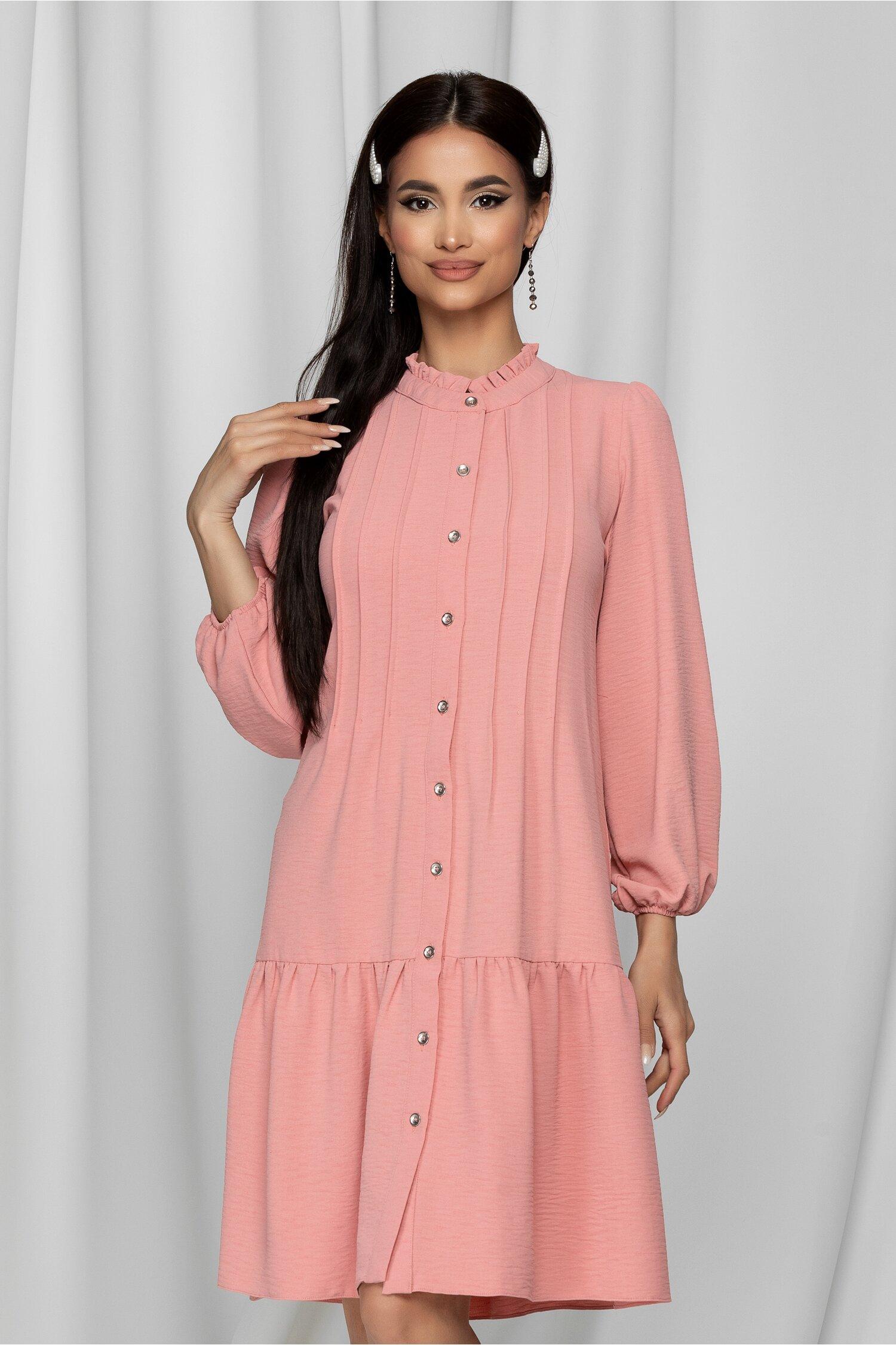 Rochie Samira roz tip camasa cu pliuri la bust