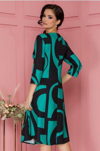 Rochie Samira verde cu imprimeuri geometrice negre