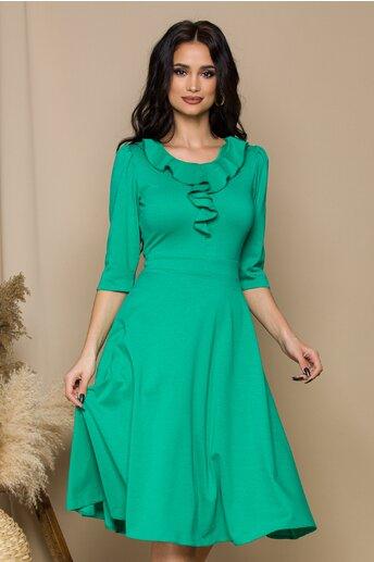 Rochie Samira verde cu volan la bust