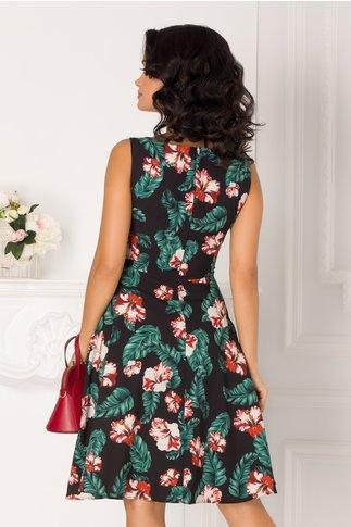Rochie Sandra neagra de vara cu imprimeu floral