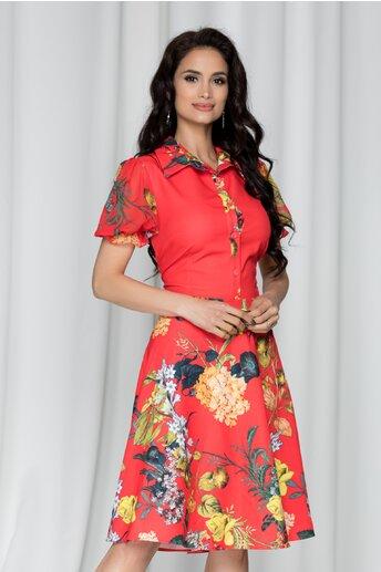 Rochie Sandrina corai cu imprimeu floral si maneci scurte din voal