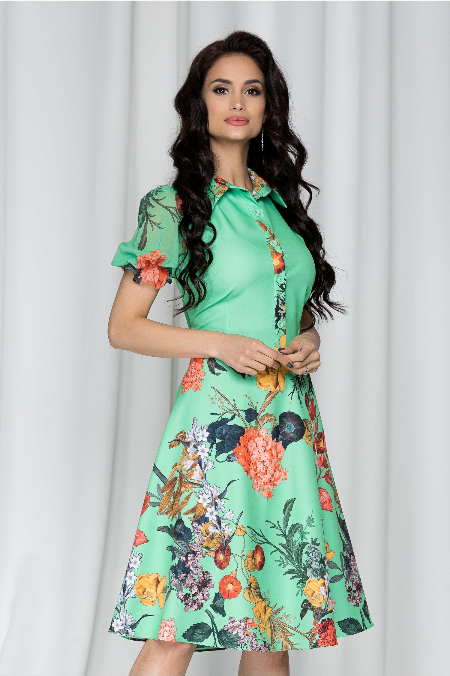 Rochie Sandrina verde cu imprimeu floral si maneci scurte din voal
