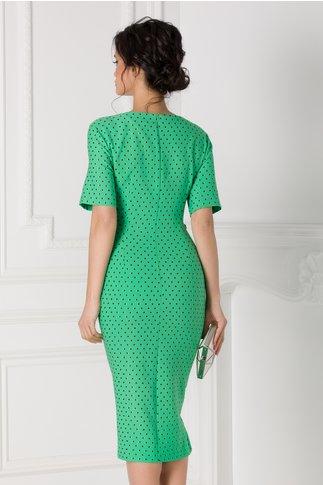 Rochie Sany petrecuta verde cu buline negre