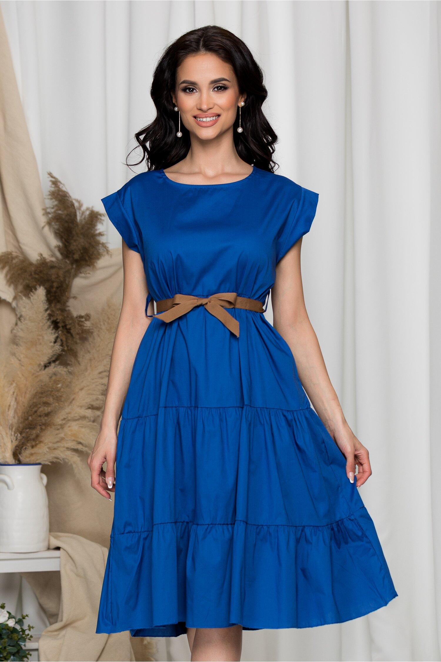 Rochie Sara albastra cu design tip volanase imagine dyfashion.ro 2021