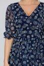 Rochie Sara bleumarin cu buline in relief