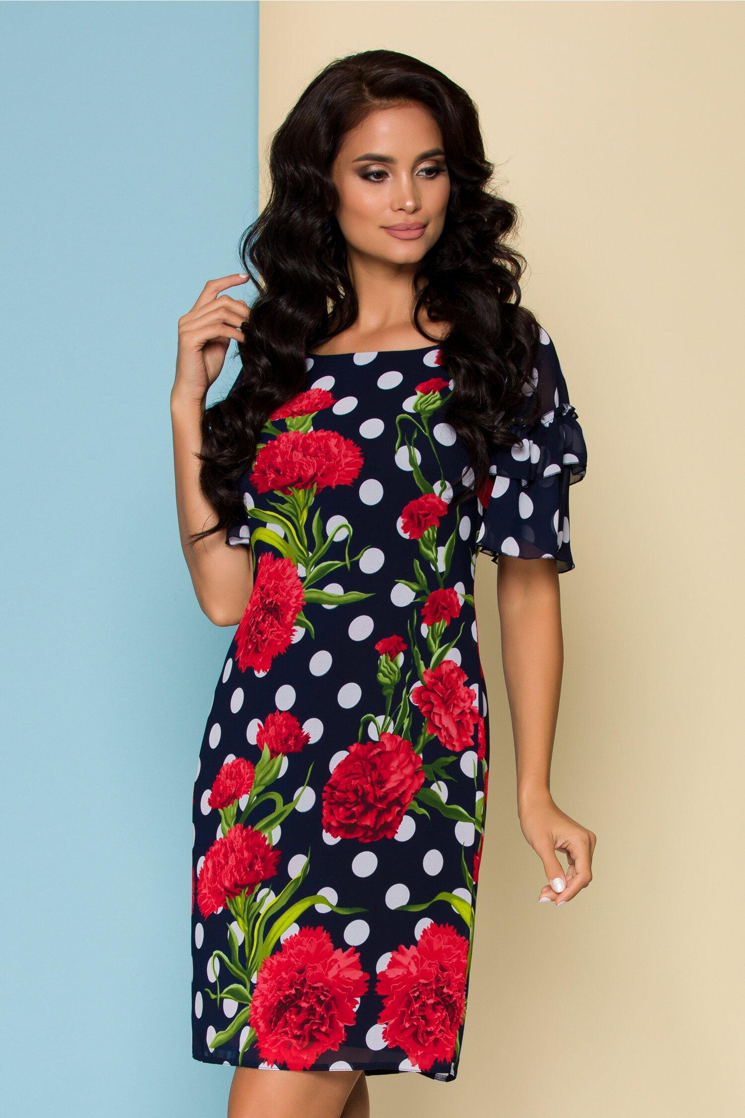 Rochie Sara bleumarin cu buline si flori rosii