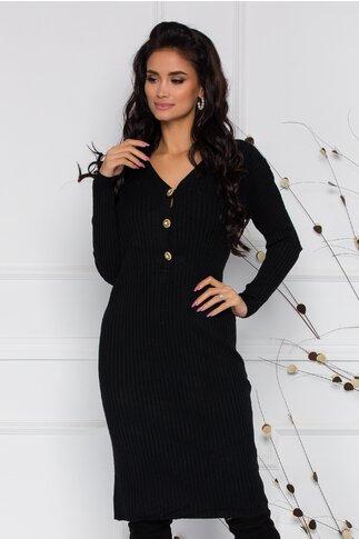 Rochie Sara din tricot neagra cu textura raiata si nasturi la decolteu