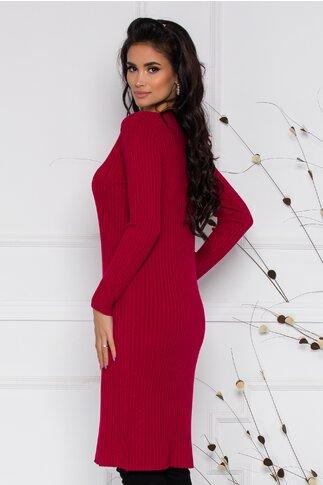 Rochie Sara din tricot rosie cu textura raiata si nasturi la decolteu