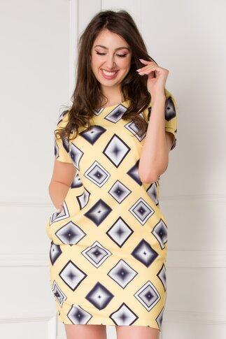 Rochie Sara galbena cu imprimeuri geometrice
