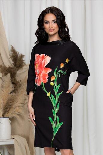 Rochie Sara neagra cu imprimeu floral maxi