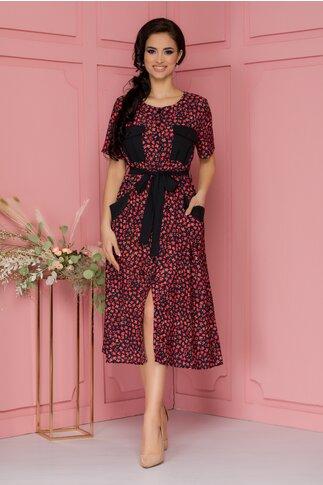 Rochie Sara neagra cu imprimeuri florale rosii