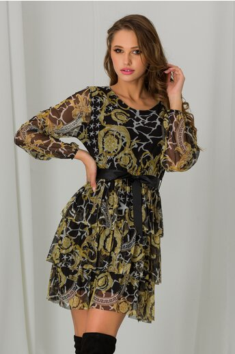Rochie Sara neagra cu imprimeuri galbene si volane pe fusta