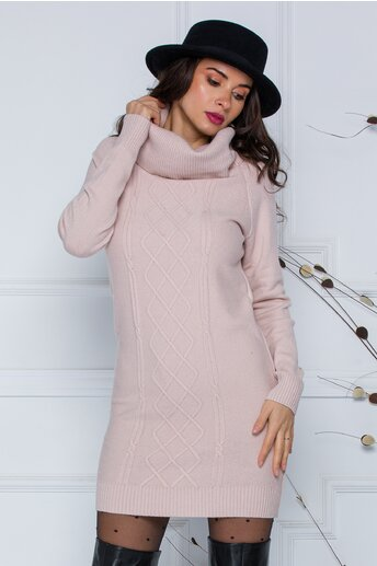 Rochie Sara roz pal din tricot cu guler maxi