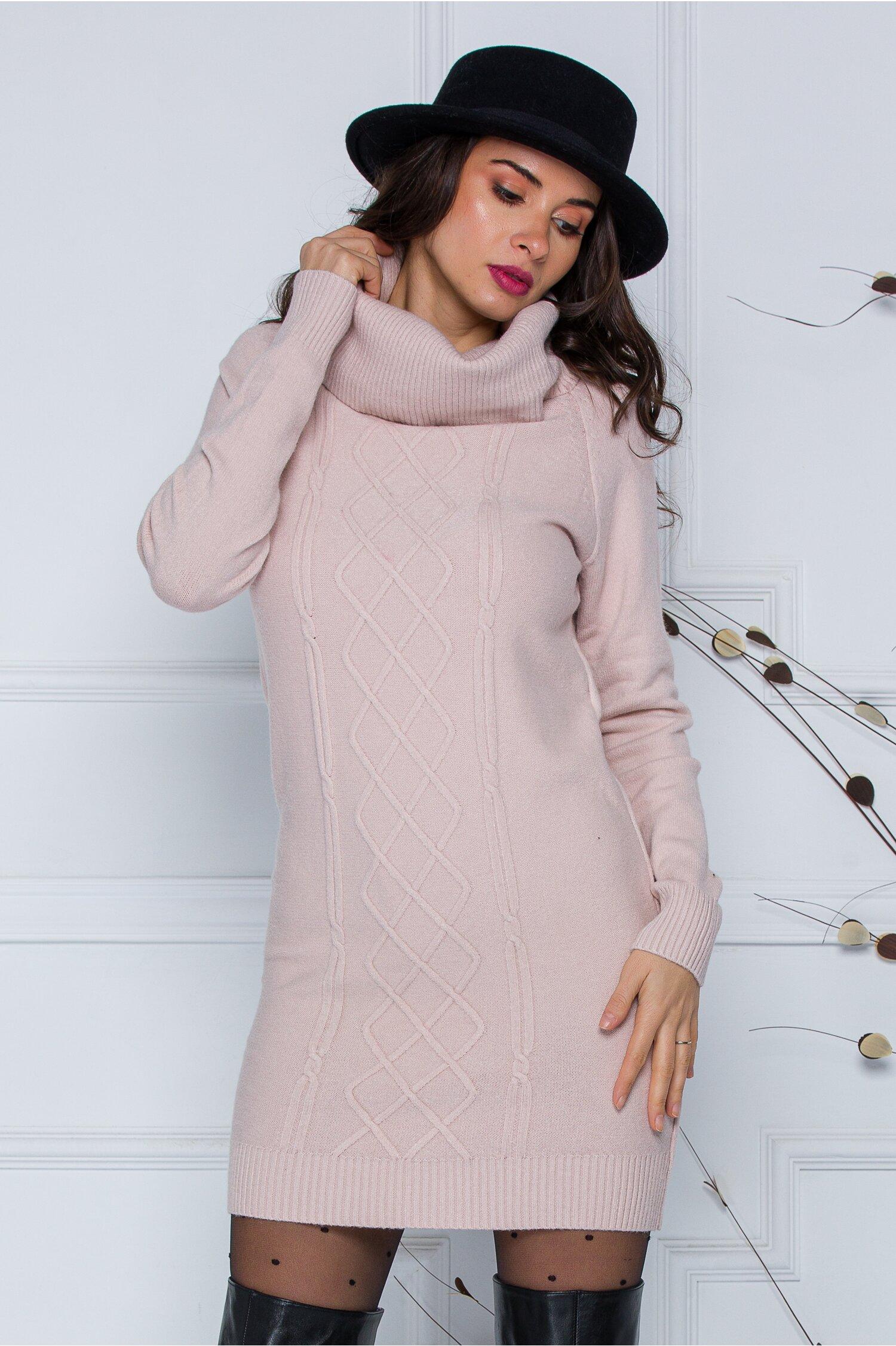 Rochie Sara roz pal din tricot cu guler maxi imagine