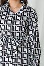 Rochie Sara tip camasa alb-negru cu imprimeu labirint