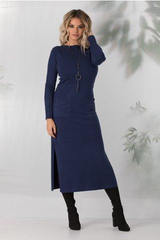Rochie Sara tricotata bleumarin cu buzunare si crepeuri in laterale