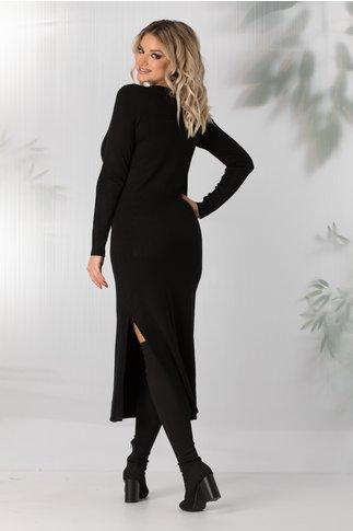 Rochie Sara tricotata neagra cu buzunare