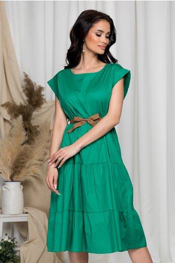 Rochie Sara verde cu design tip volanase
