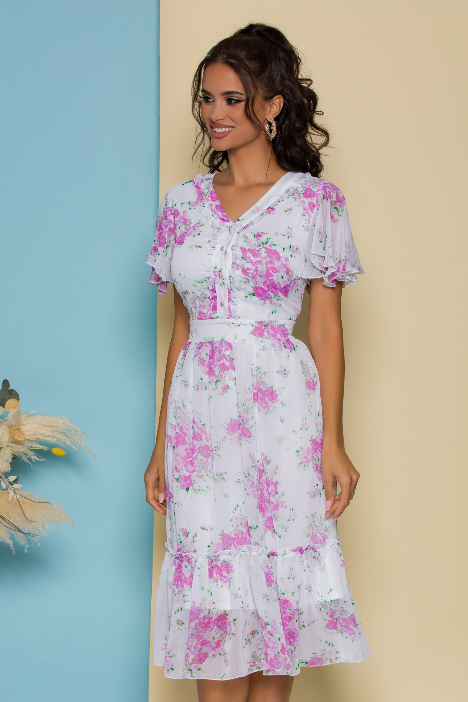Rochie Sarah alba cu imprimeuri florale roz