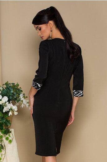 Rochie Sarah neagra cu imprimeuri albe