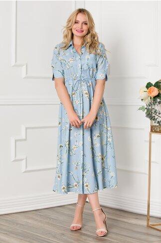 Rochie Saray bleu midi cu cordon in talie si imprimeu floral