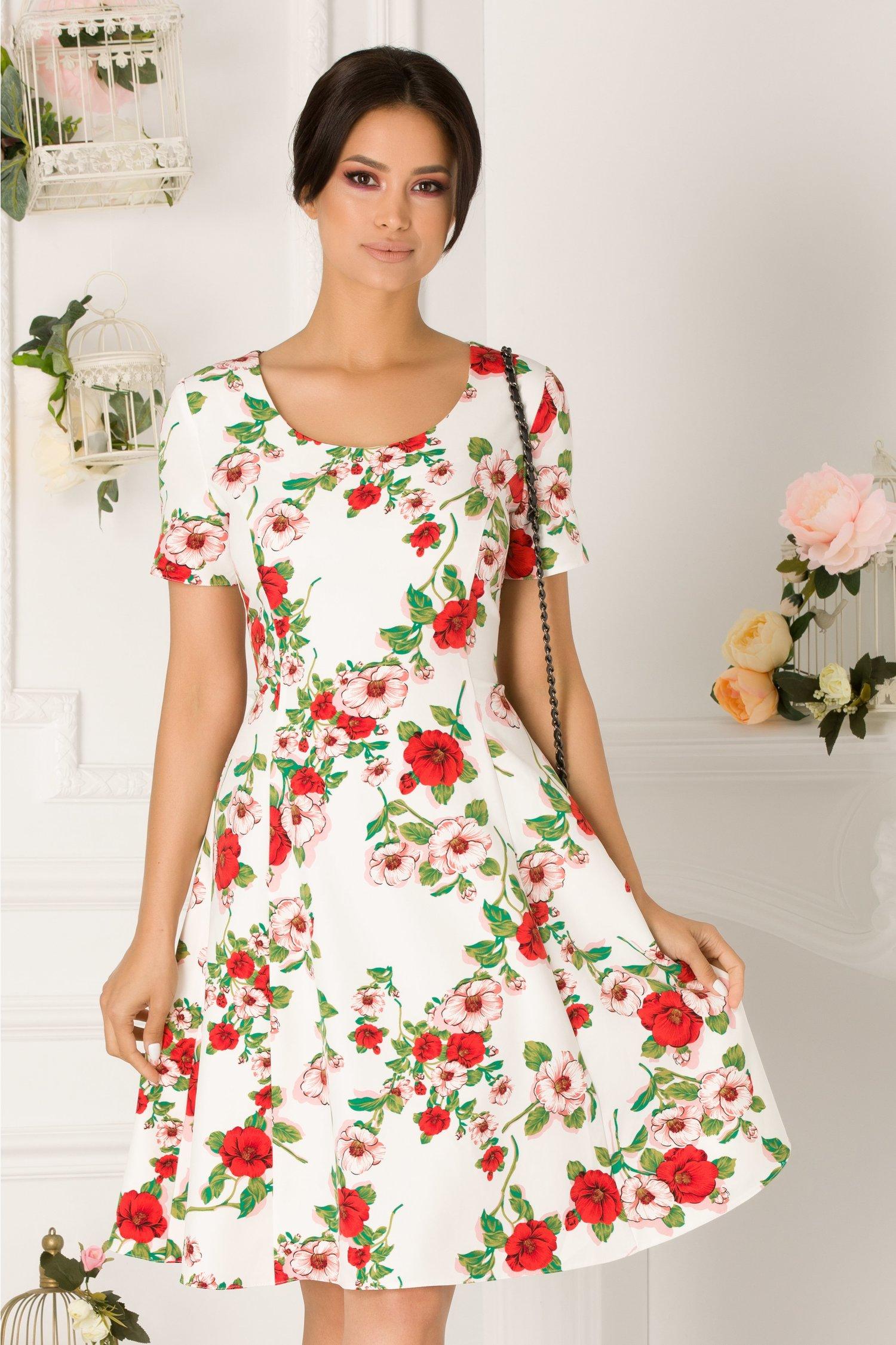 Rochie Sarra alba cu imprimeu floral roz si rosu