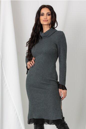 Rochie Sarra gri antracit din tricot cu volanase din voal