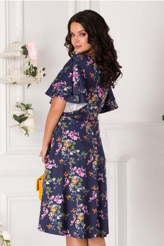 Rochie Sarry midi bleumarin cu floricele colorate