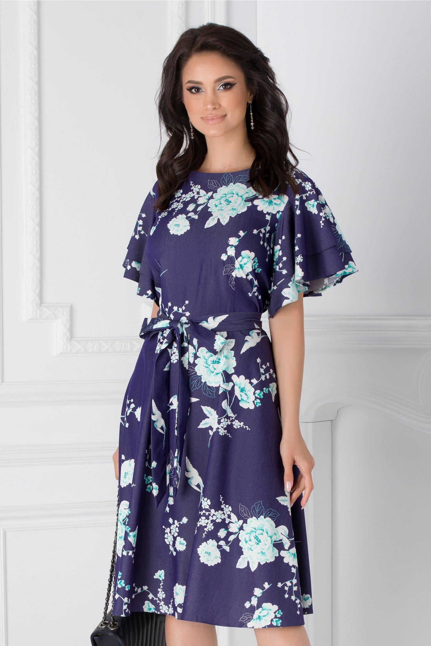 Rochie Sarry midi bleumarin cu imprimeuri florale verzi