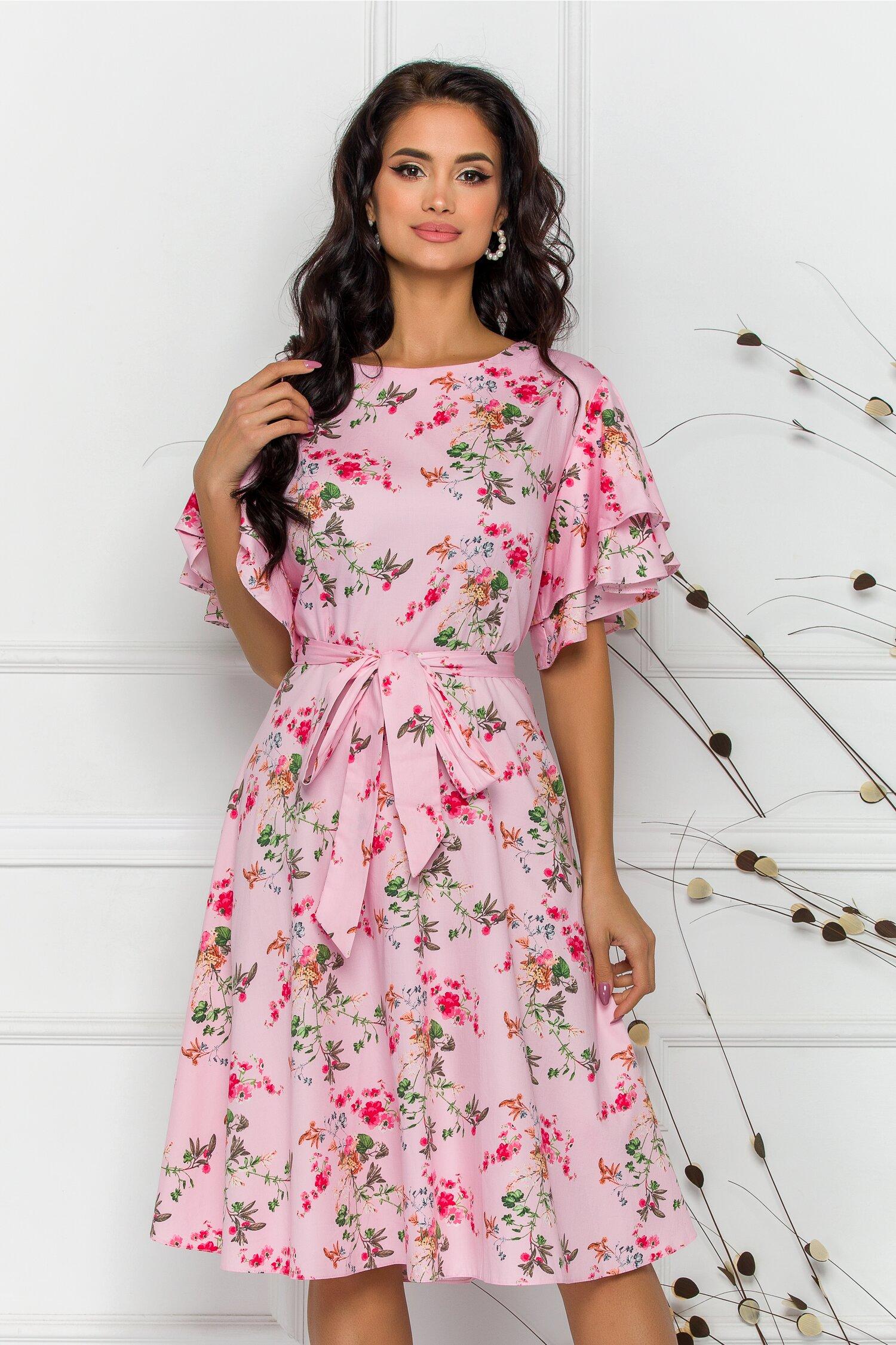 Rochie Sarry midi roz cu imprimeuri florale