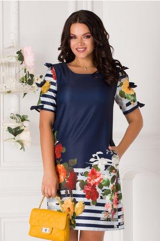 Rochie Sasha bleumarin  cu imprimeu floral si dungi bleu